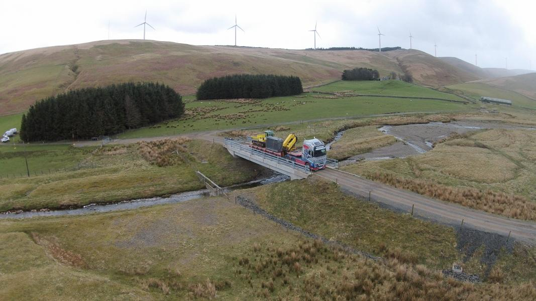 Drilling equipment being moved to another part of the Clyde Wind Farm Site